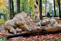 Drewniane rzeźby w ustrońskim parku