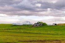 Islandzkie domy z wulkanem w tle