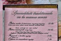 Karta dań restauracji w Ciocanesti