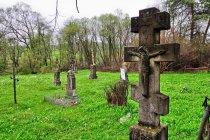 Krzyże na cmentarzu w Długiem