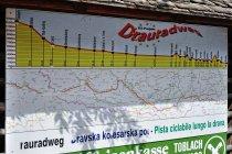 Mapa i profil drogi rowerowej Drawy