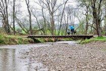 Na drewnianym mostku przez Wisłokę