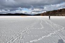 Na nartach biegowych po jeziorze