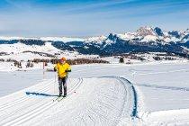 Narciarze na biegówkach na Alpe di Siusi