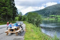 Piknik nad jeziorem Viksdalsvatnet