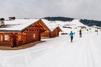 Przy drewnianych chatach na Alpe di Siusi