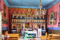 Wewnątrz cerkwi św. św. Kosmy i Damiana w Banicy