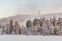 Widok na skocznię narciarską w Ruce z jeziora Talvijärvi