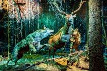 Wilki w pogoni za jeleniem