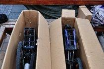Zapakowane rowery przed powrotem do Polski
