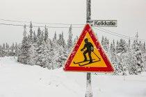 """Znak drogowy """"Uwaga, narciarz biegowy!"""""""