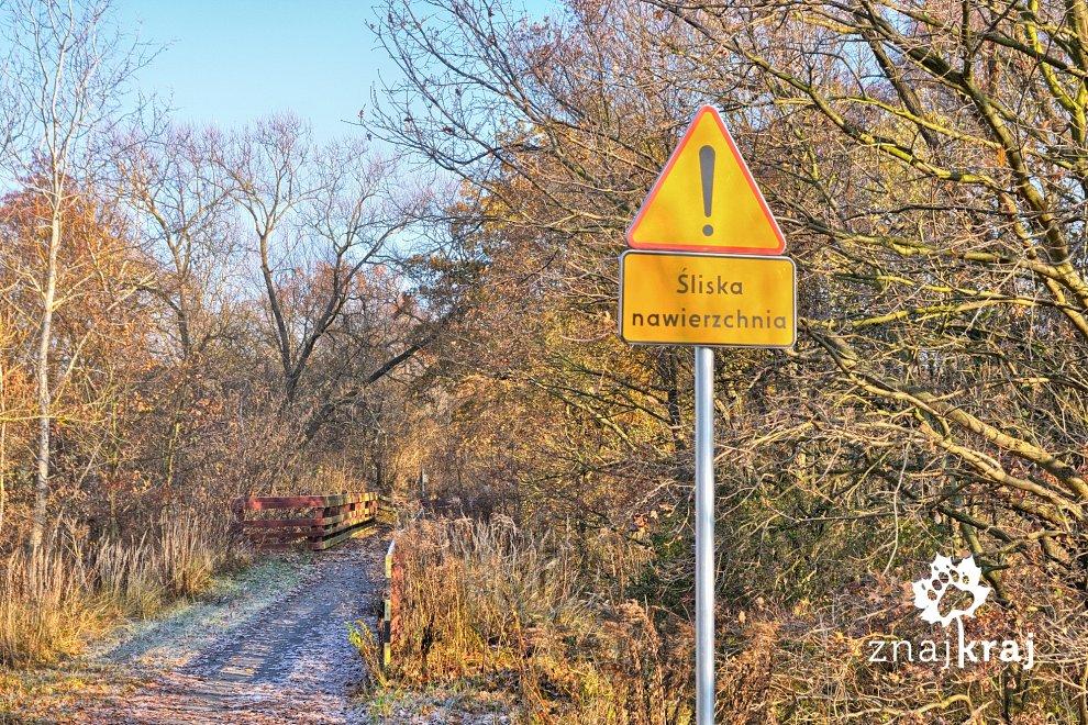 sliska-nawierzchnia-znak-na-drodze-rower