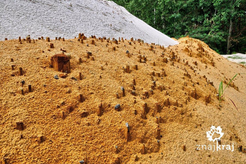 Świeżo wydobyty piasek w kopalni Biała Góra