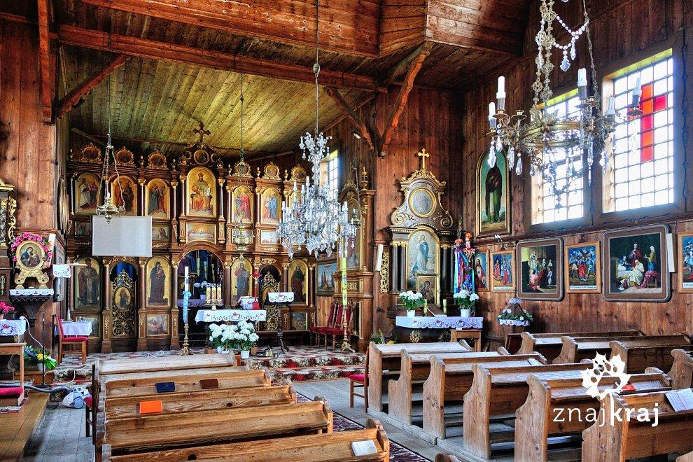 Wnętrze cerkwi św. Paraskewy w Czyrnej