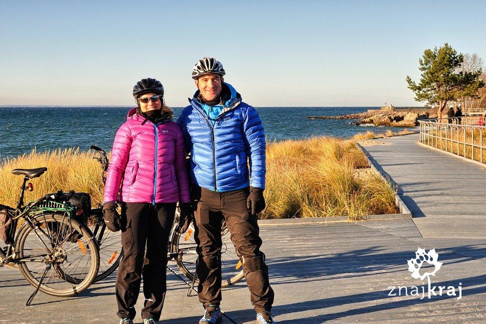 Zimowi rowerzyści na Helu