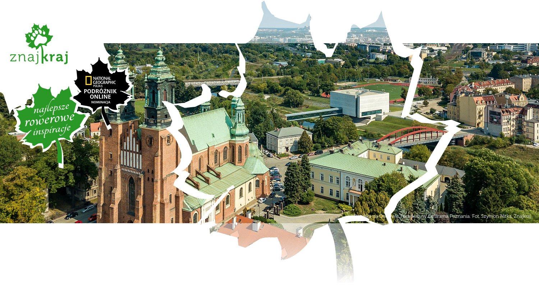 Bazylika na Ostrowie Tumskim, w tle Brama Poznania