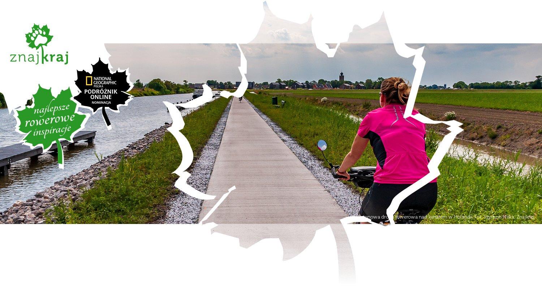 Betonowa droga rowerowa nad kanałem w Holandii