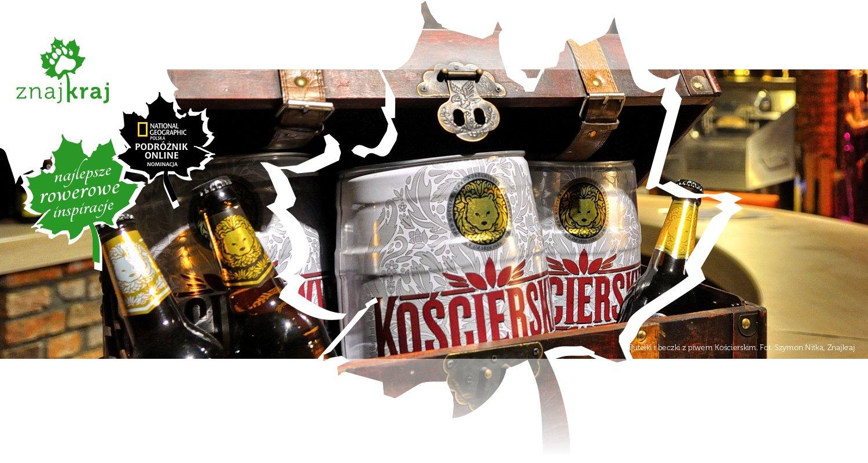 Butelki i beczki z piwem Kościerskim