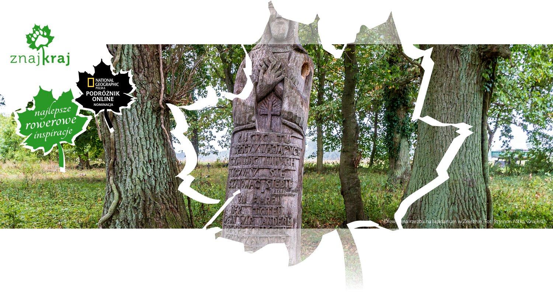 Drewniana rzeźba na lapidarium w Żeleźnie