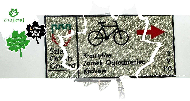 Drogowskaz rowerowego Szlaku Orlich Gniazd
