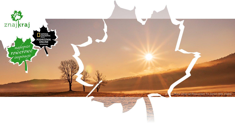 Jesienne Słońce wstaje nad Bieszczadami