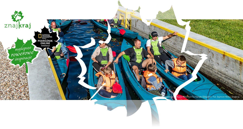 Kajakarze w śluzie Miłomłyn na Kanale Elbląskim