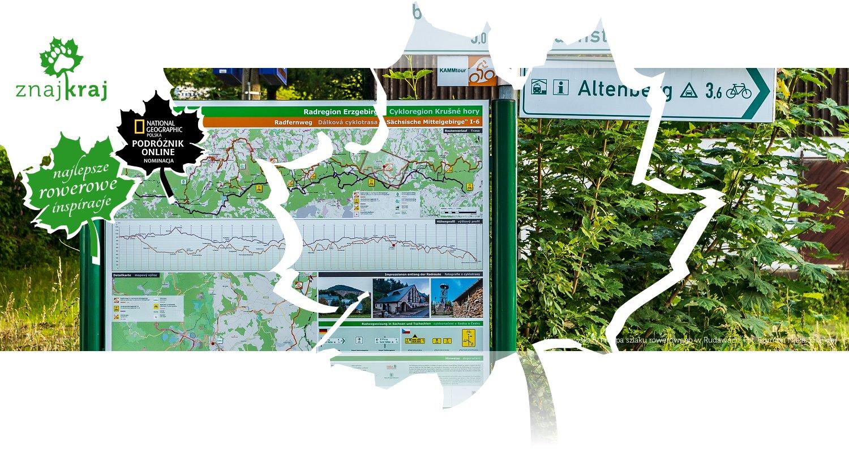Kierunkowskazy i mapa szlaku rowerowego w Rudawach