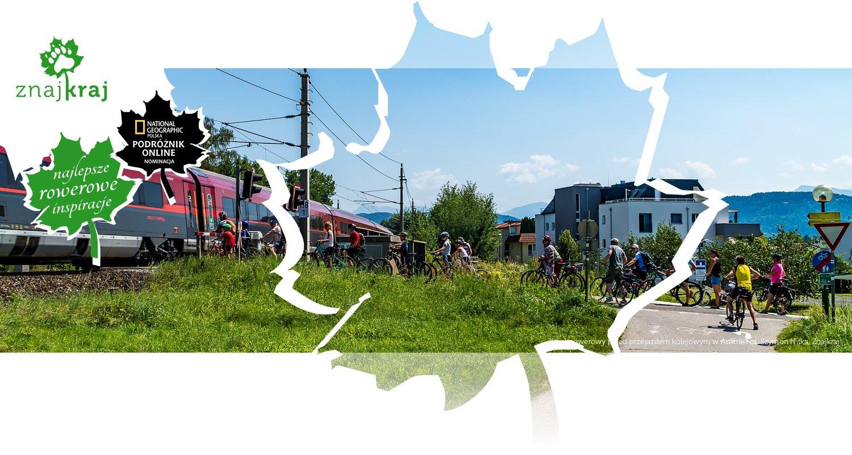 Korek rowerowy przed przejazdem kolejowym w Austrii