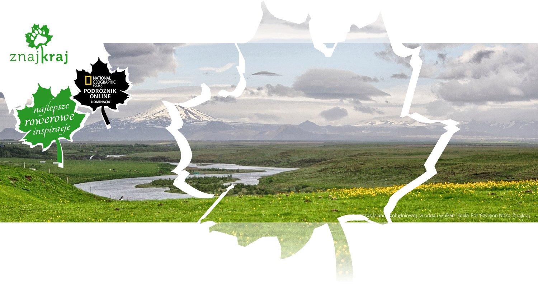Krajobraz Islandii południowej, w oddali wulkan Hekla