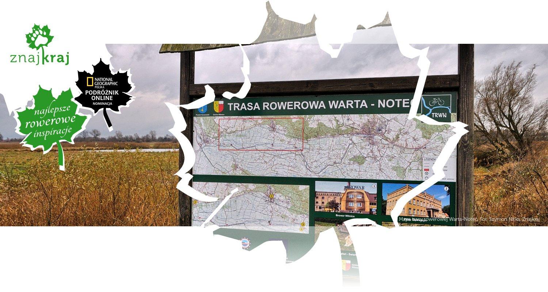Mapa trasy rowerowej Warta-Noteć