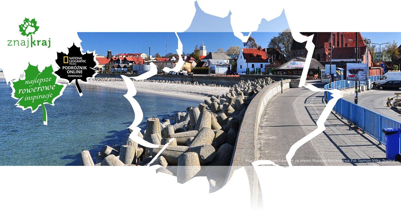 Miasto Hel, po lewej fokarium, po prawej Muzeum Rybołówstwa