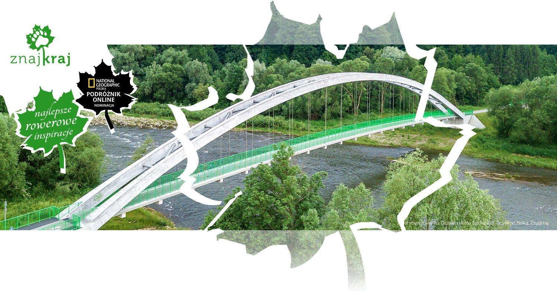 Most rowerowy na Dunajcu koło Łącka