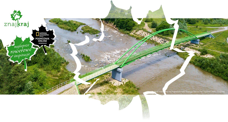 Most rowerowy na Popradzie koło Starego Sącza