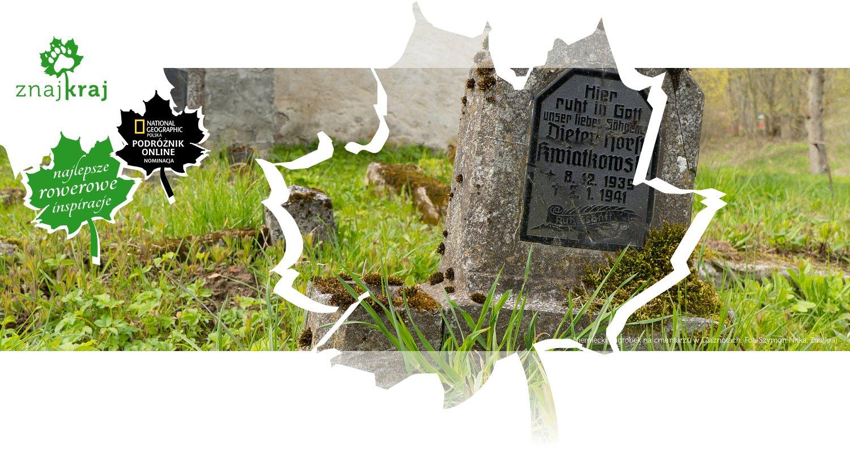 Niemiecki nagrobek na cmentarzu w Glaznotach
