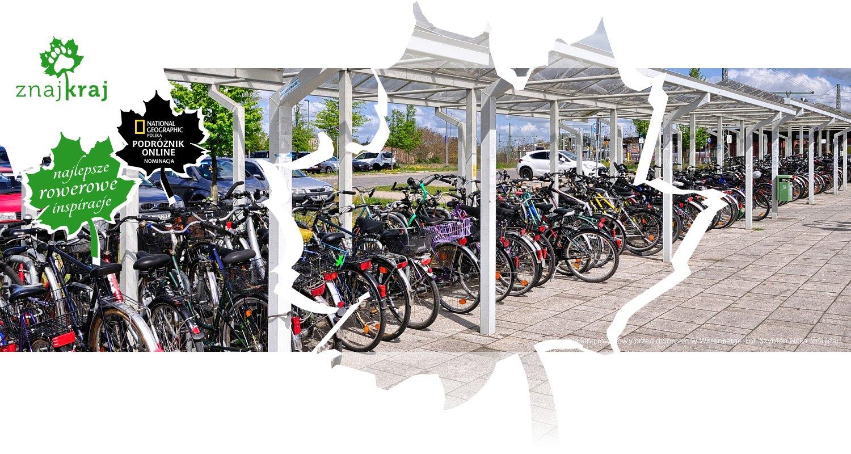 Parking rowerowy przed dworcem w Wittenberge