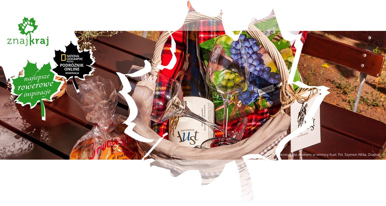 Piknikowy kosz z winem w winnicy Aust
