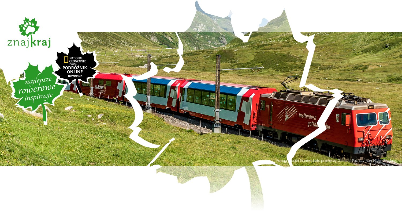 Pociąg Glacier Express koło przełęczy Oberalp