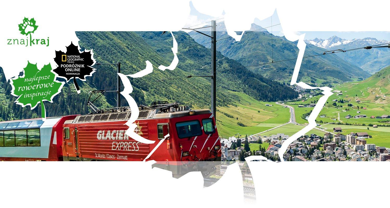 Pociąg Glacier Express w Alpach w Szwajcarii