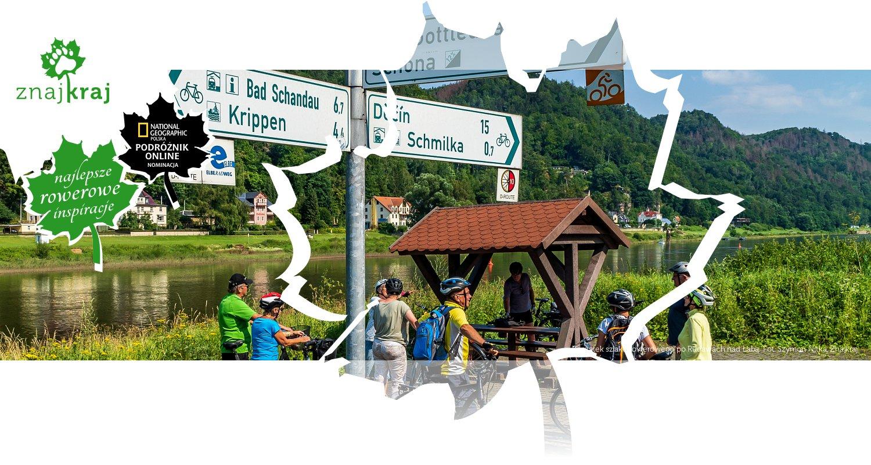 Początek szlaku rowerowego po Rudawach nad Łabą