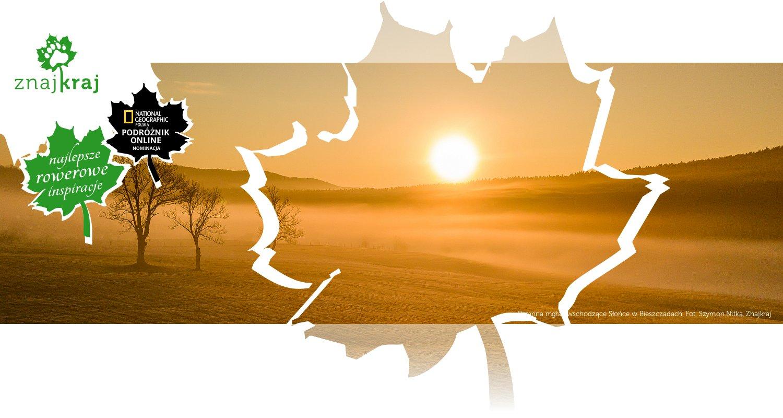 Poranna mgła i wschodzące Słońce w Bieszczadach