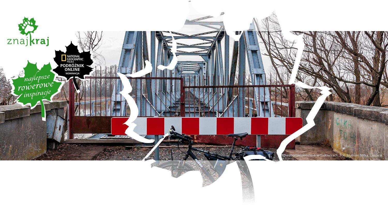 Rower przed mostem w Siekierkach