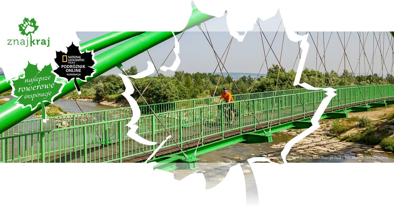 Rowerowy most na Popradzie koło Starego Sącza
