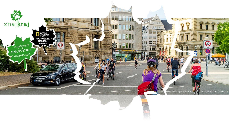 Rowerzyści wjeżdżający do centrum Lipska