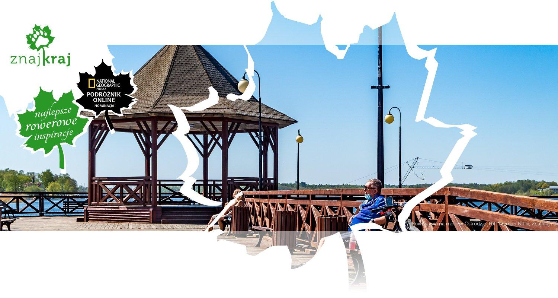 Rowerzysta na molo w Ostródzie
