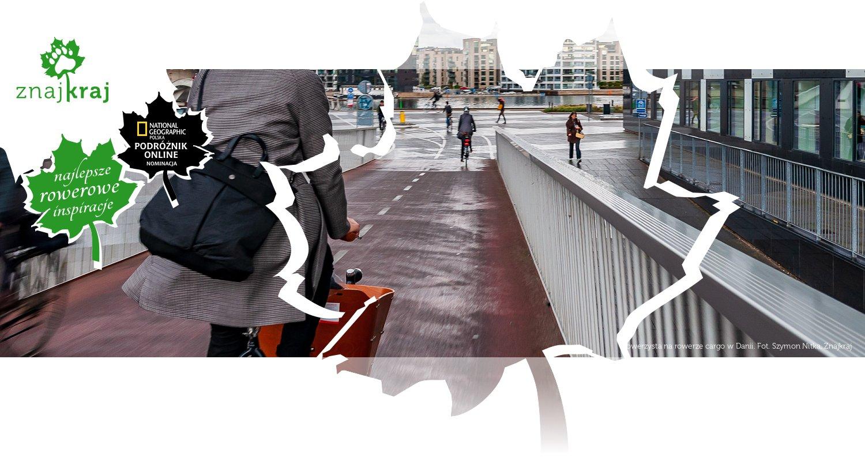 Rowerzysta na rowerze cargo w Danii
