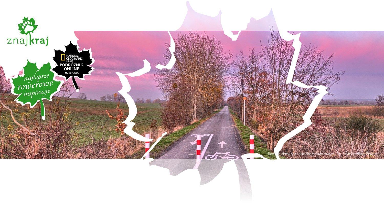 Różowe chmury nad szlakiem rowerowym