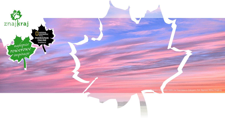 Różowo-niebieskie niebo za Trzcińskiem-Zdrojem