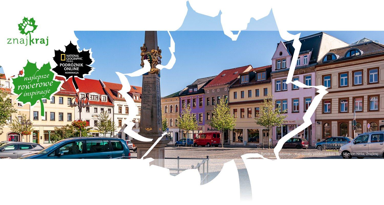 Rynek w Radebergu i słup poczty polsko-saskiej