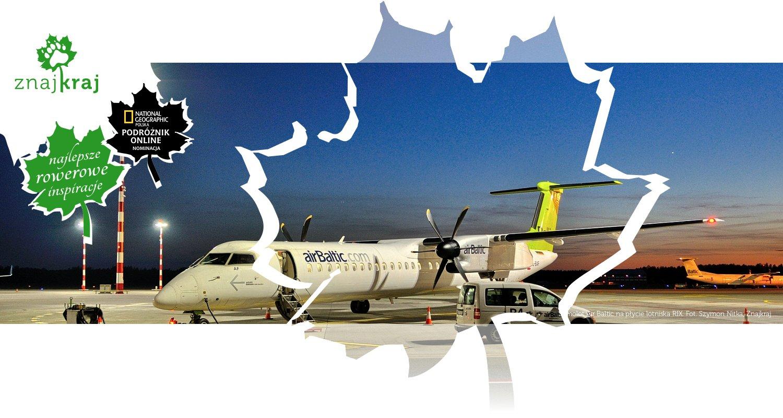 Samolot Air Baltic na płycie lotniska RIX