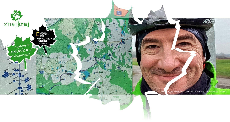 Selfie z mapą Trasy Pojezierzy Zachodnich